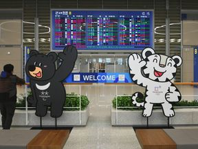 The mascots of the 2018 PyeongChang Winter Olympics at Incheon International Airport