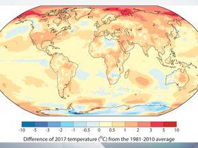 WMO image shows temperature increase in 2017