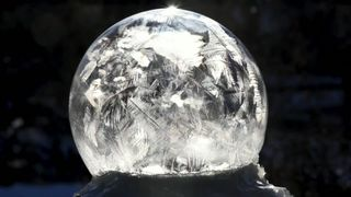 US big freeze: Bubbles reveal 'natural snow globe'