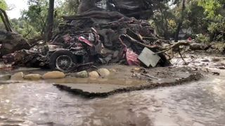 A vehicle wrapped around a tree after flood and mudslides in Montecito, California