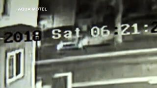 The car crashed into the second floor of a building