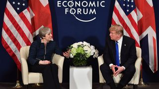 Theresa may and Donald Trump held talks in Davos