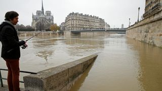 The flooded banks of the River Seine in Paris