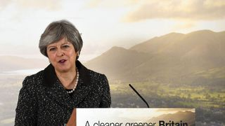Theresa May speaking at the launch of the Government's 25-year environment plan at The London Wetland Centre in South West London