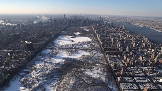 Central Park lies under a blanket of snow in New York City