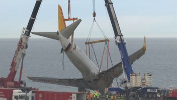 The plane was winched from the shoreline by engineers