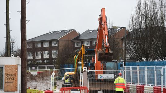 A Carillion worker at the construction site of the £350m Midland Metropolitan Hospital in Smethwick
