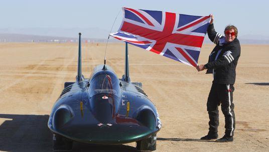 Charles Burnett III celebrating his land speed record in 2009