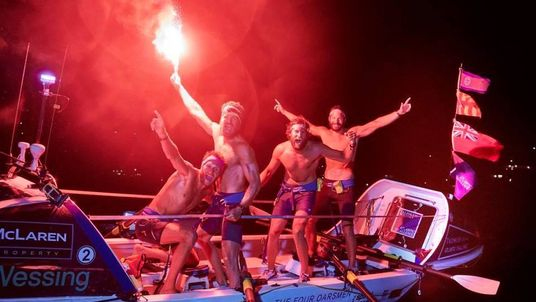 The oarsmen celebrating as they crossed the finish line after 29 days. Pic: Talisker Whisky Atlantic Challenge/Ben Duffy