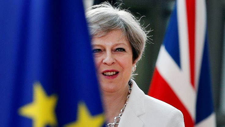 British Prime Minister Theresa May arrives at the EU summit in Brussels, Belgium, June 23, 2017