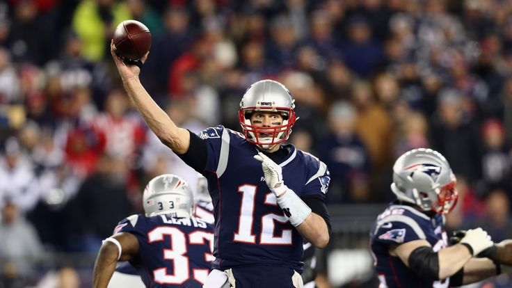 Tom Brady #12 of the New England Patriots throws in the second half during the AFC Championship Game