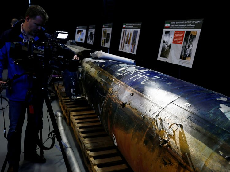 """A missile that the U.S. Department of Defense says is a """"Qiam"""" ballistic missile manufactured in Iran and that the Pentagon says was fired by Houthi rebels from Yemen"""