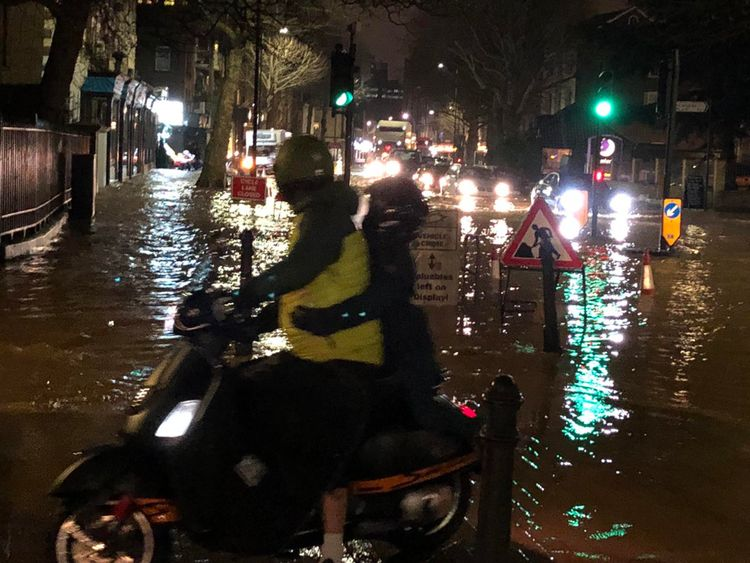 Flood water on King Street after a burst water main
