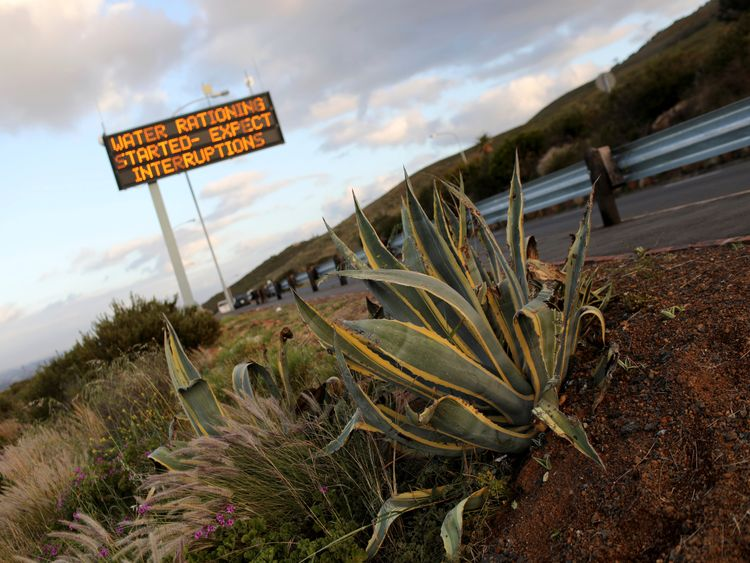 A sign warning residents of water restrictions