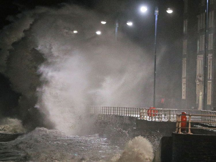 Waves crash against the sea wall in Aberystwyth in west Wales as Storm Eleanor hits the UK causing power cuts and road disruption. PRESS ASSOCIATION Photo. Picture date: Wednesday January 3, 2018. See PA story WEATHER Gales. Photo credit should read: Aaron Chown/PA Wire