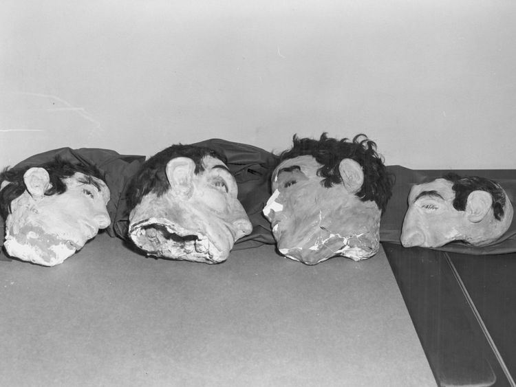 The dummy heads used in the trio's escape. Pic: FBI