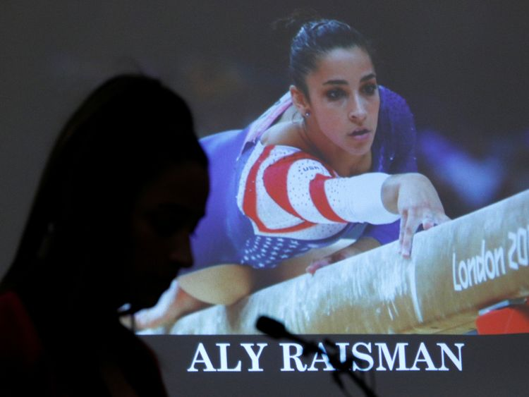 Victim and former gymnast Aly Raisman speaks at the sentencing hearing for Larry Nassar