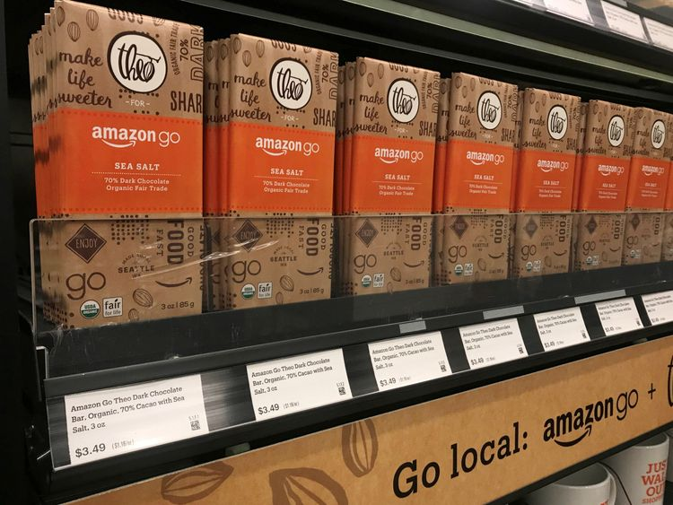 Items on the shelves of the Amazon go store