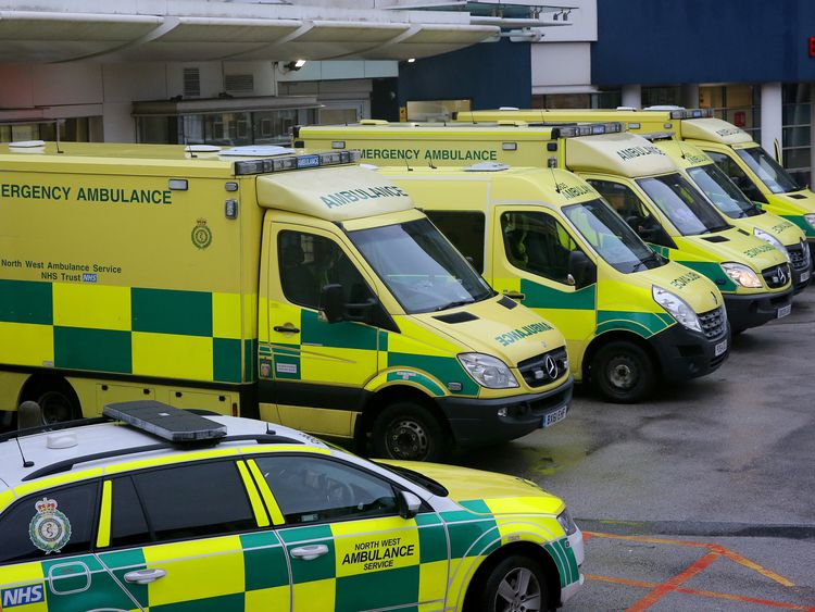Ambulances outside the Royal Liverpool Hospital in Liverpool in January 2018