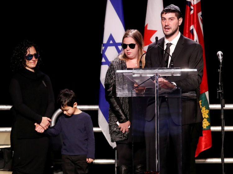 Jonathon Sherman - the son of Barry and Honey Sherman - speaks at a memorial service