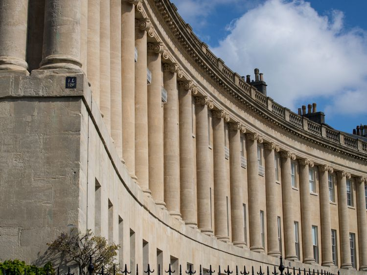Bath's Historic Royal Crescent -  one of the UK's greatest examples of Georgian architecture