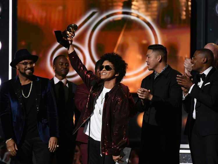 Bruno Mars receives the Grammy for the best song of the year