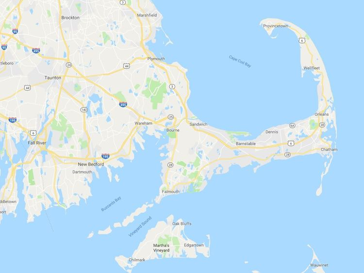 Researchers believe the sharks became stuck inside the hook of Cape Cod. Pic: Google Maps