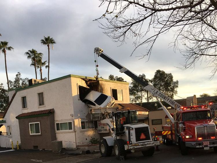 The vehicle had to be removed from the top floor