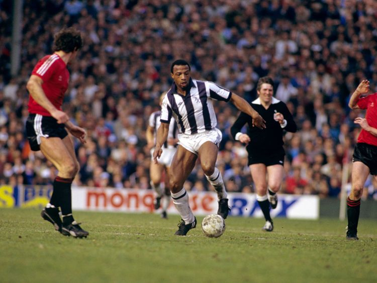 Cyrille Regis playing for West Brom in the FA Cup semi final against QPR in 1982