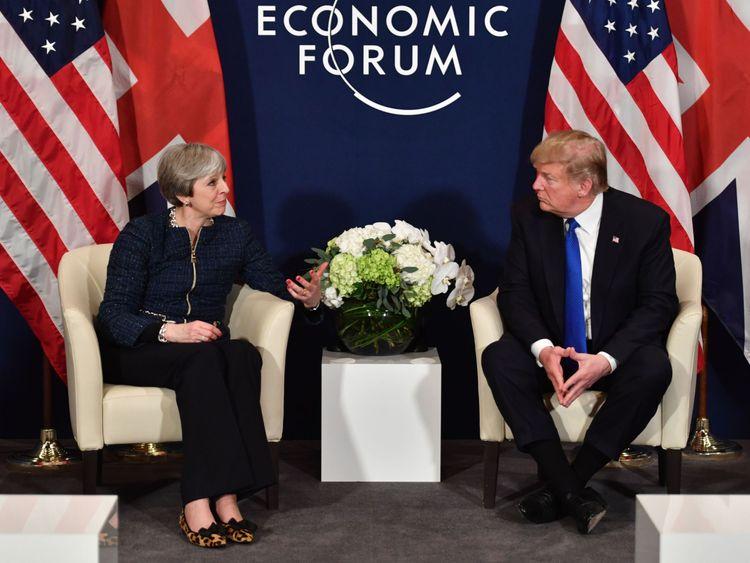 Theresa may and Donald Trump held talks in Davos