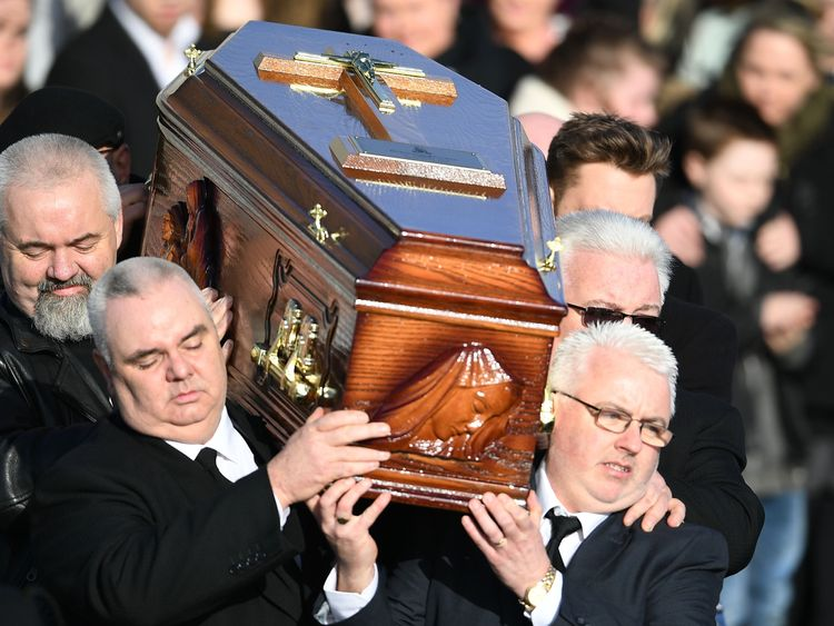 O'Riordan's was laid to rest in her home town of Ballybricken