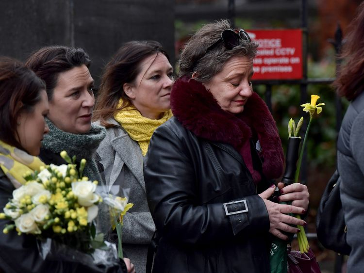Former school classmates of the singer were among those who paid their respects