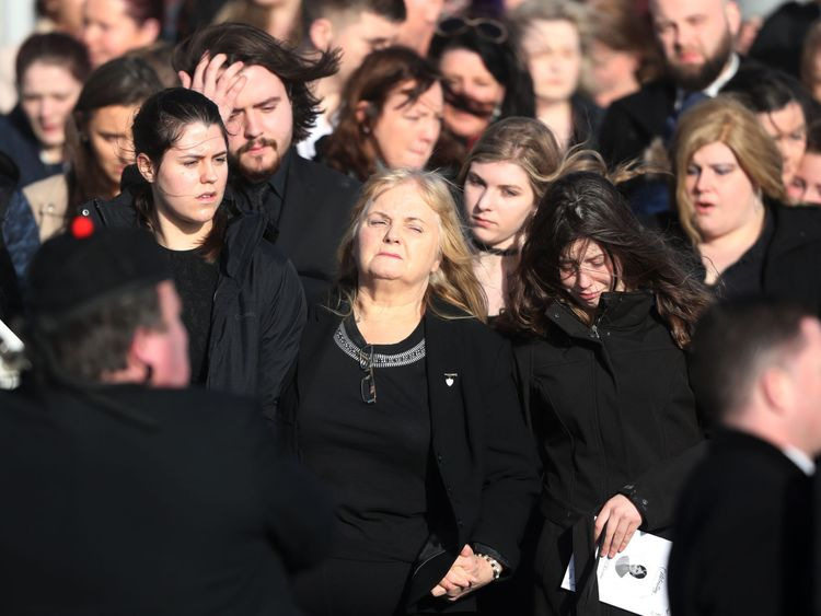 Eileen O'Riordan (centre) following the funeral of her daughter