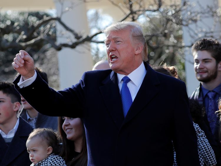 Donald Trump reacts after addressing the annual March for Life rally