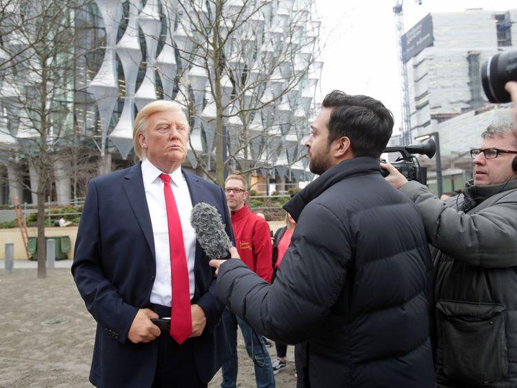 Waxwork Trump mocks President outside embassy