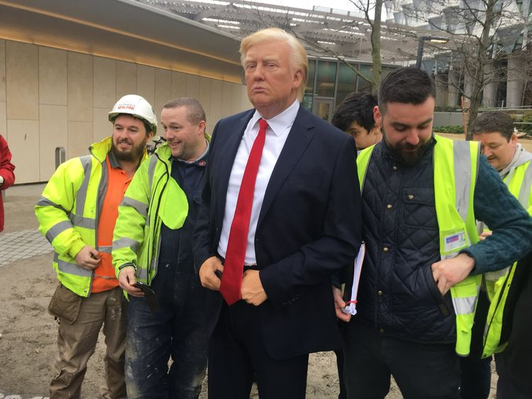A waxwork figure of Donald Trump was paraded by Madame Tussauds outside the new US embassy in Nine Elms south London