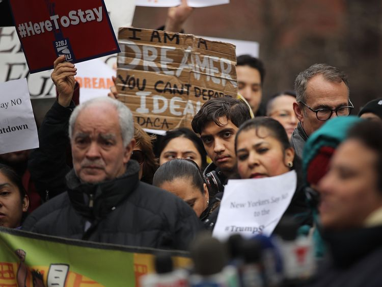 People in New York protested over the lack of a deal on the status of the Dreamers