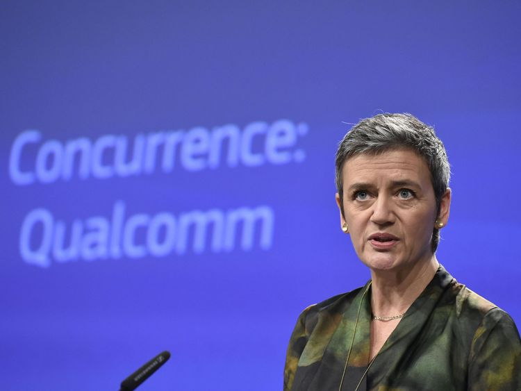EU Competition Commissioner Margrethe Vestager gives a joint press conference at the EU Headquarters in Brussels