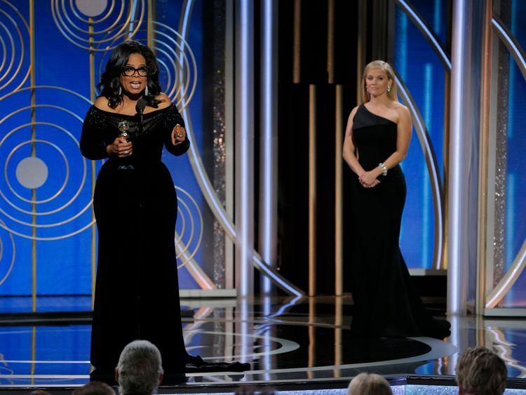 Oprah Winfrey delivered a rousing speech