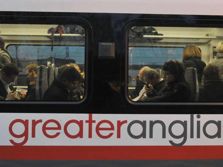 Commuters on board a Greater Anglia train at Shenfield in Essex during Monday's strike