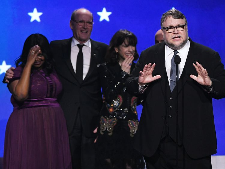 Actors Octavia Spencer, Richard Jenkins and Sally Hawkins and director Guillermo del Toro accept Best Picture for 'The Shape of Water' onstage during The 23rd Annual Critics' Choice Awards at Barker Hangar on January 11, 2018 in Santa Monica, California. (Photo by Kevin Winter/Getty Images)