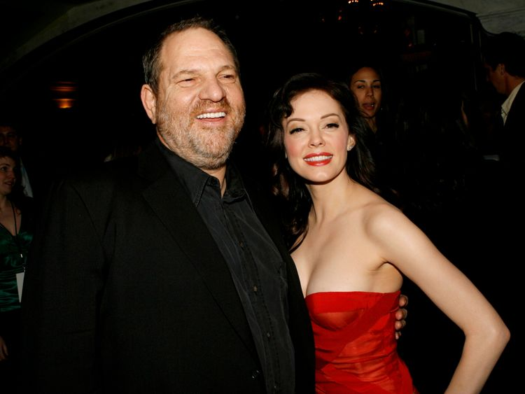 Harvey Weinstein and actress Rose McGowan at the 2007 premiere of Grindhouse