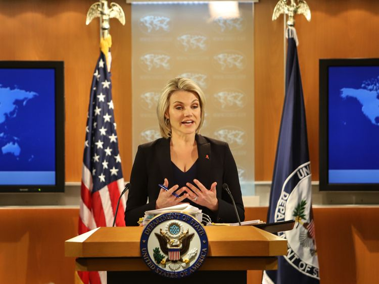 WASHINGTON, DC - NOVEMBER 30: U.S. Department of State spokesperson Heather Nauert speaks in the press briefing room at the Department of State on November 30, 2017 in Washington, DC. Nauert addressed the media on Thursday about Secretary of State Rex Tillerson and his future at the State Department. (Photo by Alex Wroblewski/Getty Images)
