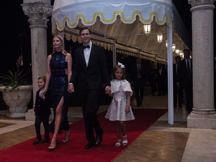 vanka Trump, her husband Jared Kushner and their children on New Year's Eve