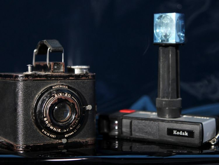 Two of Eastman Kodak's most successful cameras, a Brownie Special Six-20 (L), circa 1938-1942, which sold for $4, and the Pocket Instamatic 20 (R), which sold for about $28 in 1972, are shown January 12, 2012 in this studio illustration in Washington. 19/12/12
