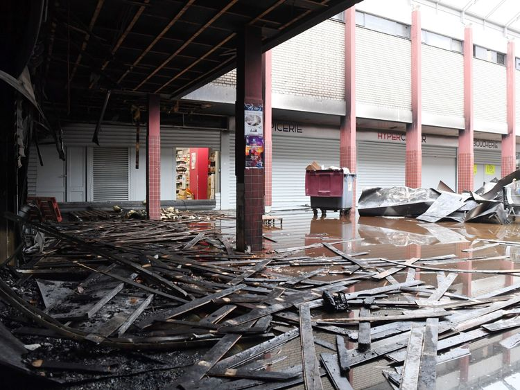 The Promo & Destock store, a French kosher grocery store in Creteil, south of Paris, after it was destroyed in an arson attack