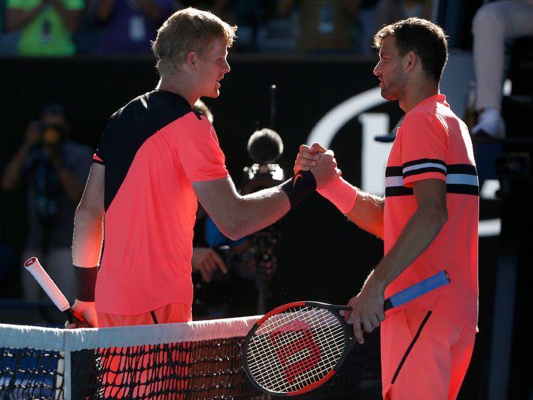 Edmund (left) beat Dimitrov in four sets