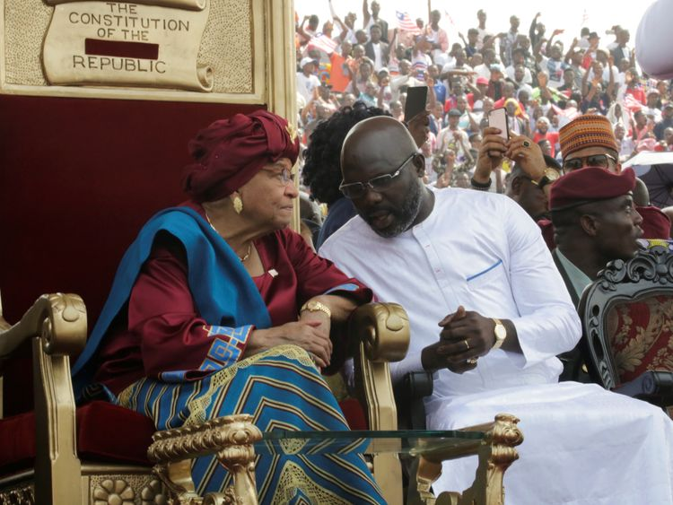 The former president speaks to her successor at his swearing in Ceremony
