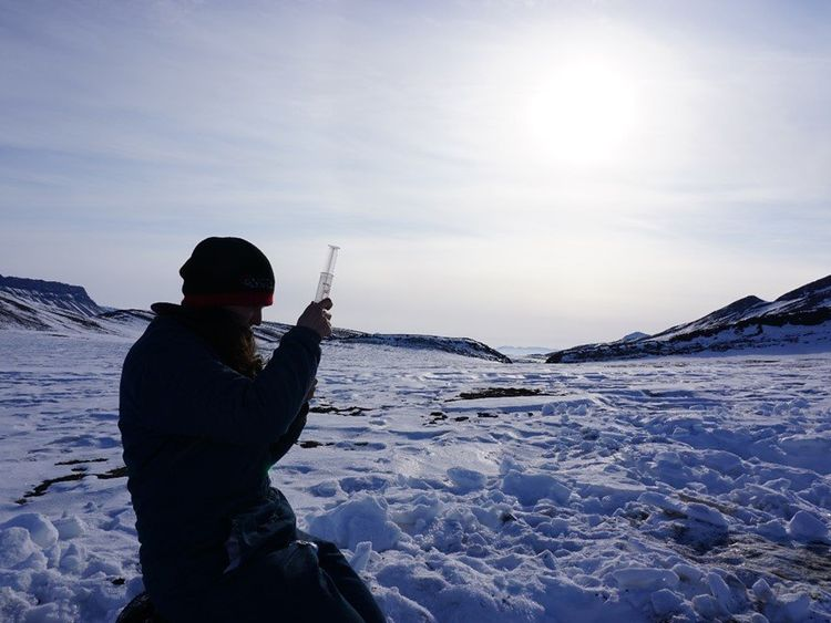 Researcher samples permafrost in the high Arctic. Pic: Dr Jacqueline Goordial