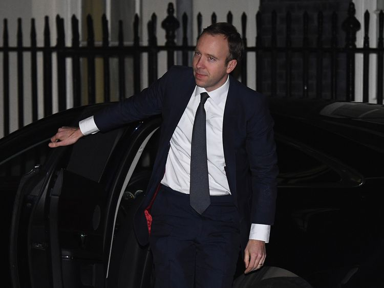 LONDON, ENGLAND - JANUARY 08:  Matt Hancock arrives at 10 Downing Street as Prime Minister Theresa May reshuffles her cabinet on January 8, 2018 in London, England. Today's Cabinet reshuffle is Theresa May's third since becoming Prime Minister in July 2016 and was triggered after she sacked first secretary of state and close friend Damian Green before Christmas.  (Photo by Leon Neal/Getty Images)